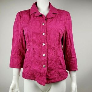 COLDWATER CREEK Pink Textured Jacket Size 14